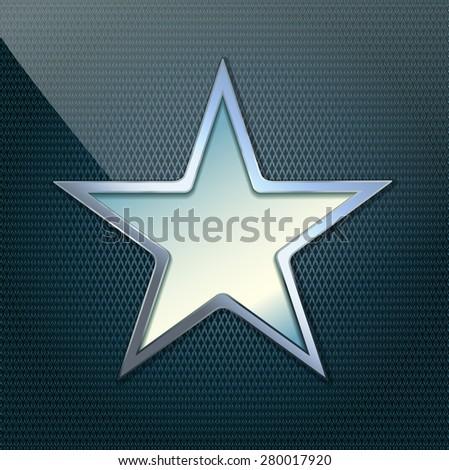 vector illustration of chrome star on grid background - stock vector