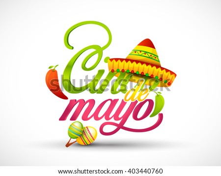 Vector illustration of Cinco De Mayo shiny typography celebration background. - stock vector