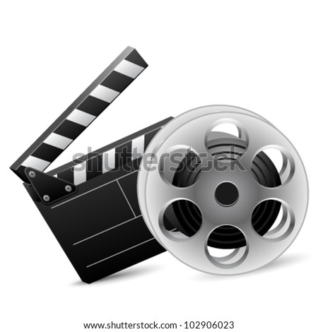 Vector illustration of cinema clap and film reel