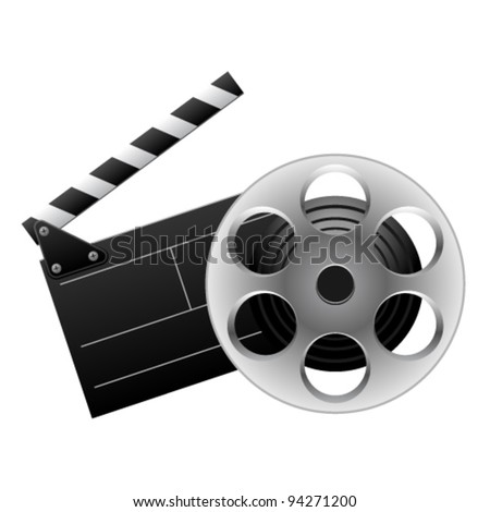 Vector illustration of cinema clap and film reel - stock vector