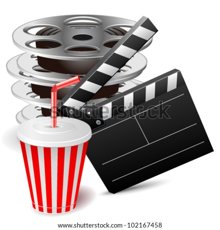 Vector illustration of cinema clap with film reels and drink - stock vector