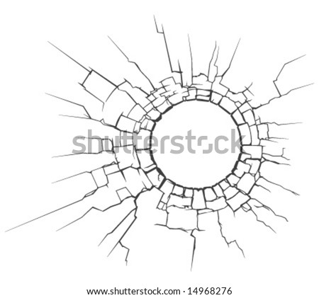 vector illustration of circle crack - stock vector