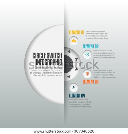 Vector illustration of circle switch infographic design element. - stock vector