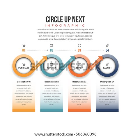 Vector illustration of circle up next infographic design element.