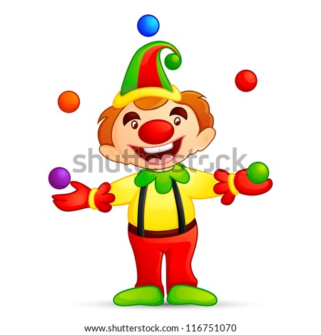 vector illustration of circus joker juggling with ball - stock vector