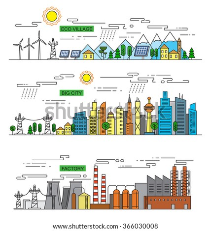 vector illustration of city and factory  icons
