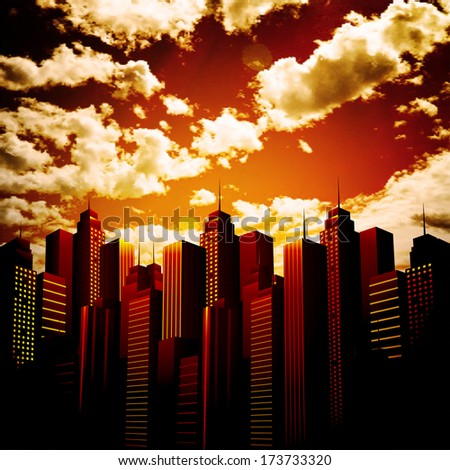 Vector illustration of city and sunset. - stock vector