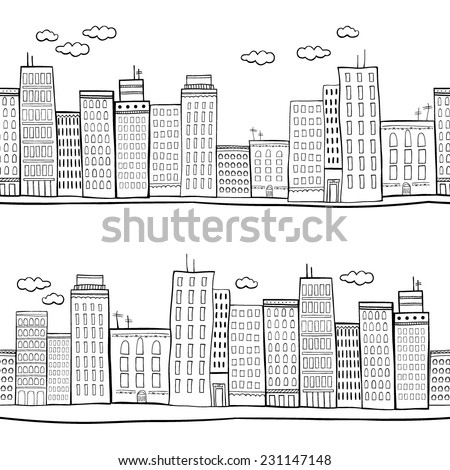 Vector illustration of city buildings - stock vector