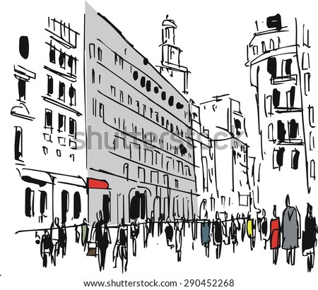 Vector illustration of city buildings and pedestrians. - stock vector
