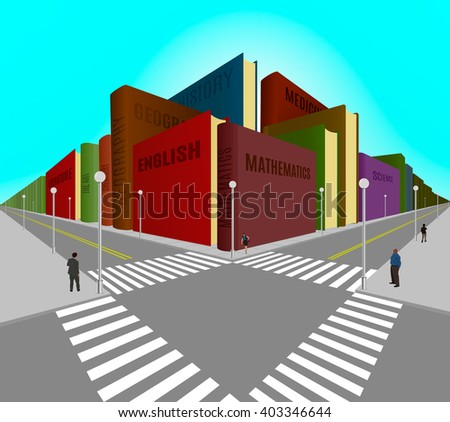 Vector illustration of city buildings built from the books. - stock vector