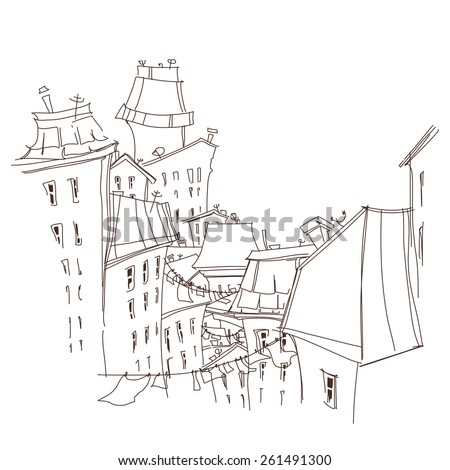 Vector illustration of city. City skylines in doodle style. sketch