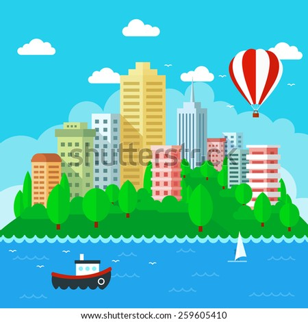 Vector Illustration of City Landscape in flat style design. Urban landscape with water and sky. - stock vector