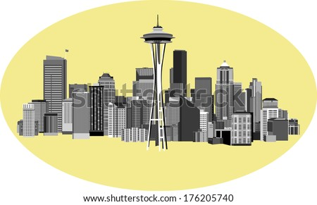 Vector Illustration of City of Seattle Washington - stock vector