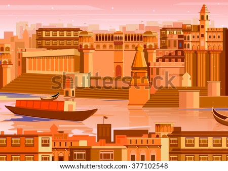 vector illustration of city of  Varanasi with river ganges in India - stock vector