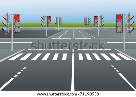 Vector illustration of city roads with traffic lights - stock vector