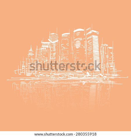 vector illustration of city shape