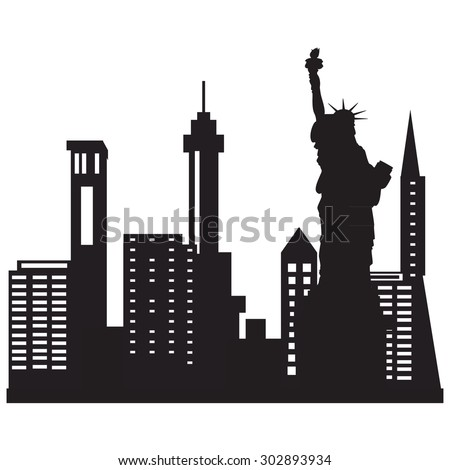 Vector illustration of city skyline night. Black city silhouette. New York city skyline with liberty statue