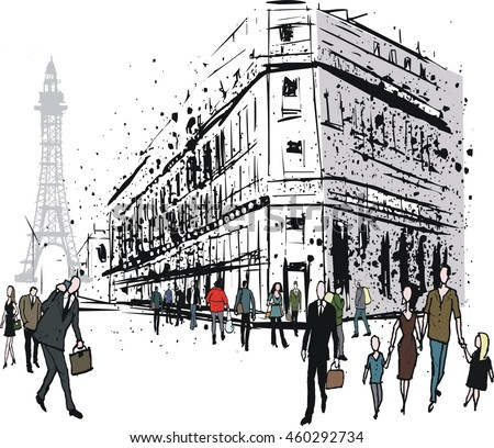 Vector illustration of city street scene showing old Paris building with pedestrians, France.