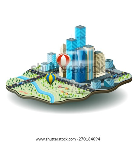 Vector illustration of city with skyscrapers, amusement park, cars, air balloons and people - stock vector