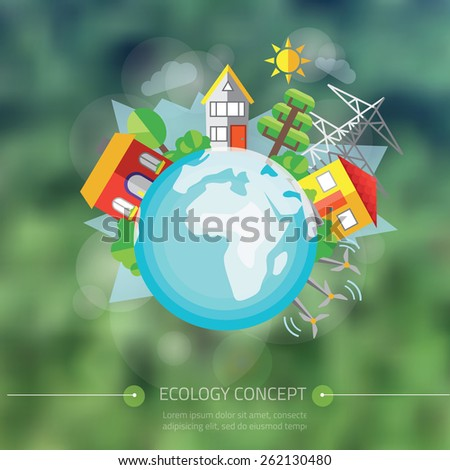 vector illustration of city with tree around Earth - stock vector