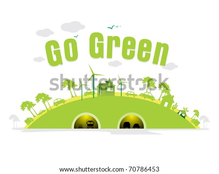 vector illustration of cityscape concept background for go green - stock vector