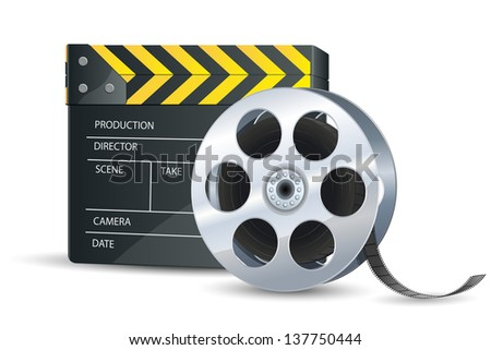 vector illustration of clap board with film reel - stock vector