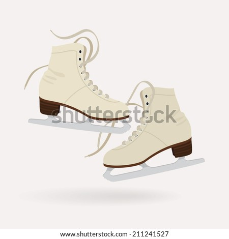 Vector illustration of classic milk white ice skates for ladies | Pair of ice skates isolated