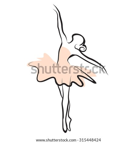 vector illustration of classical ballet, figure ballet dancer - stock vector