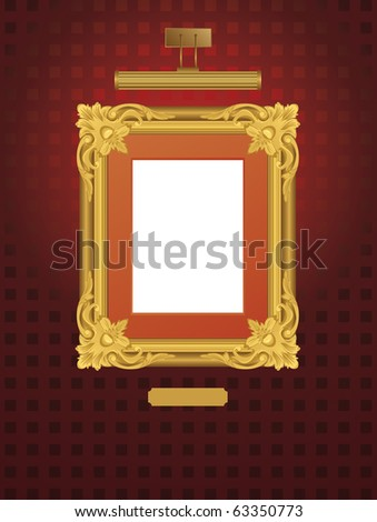 Vector illustration of classical frame with lamp. - stock vector