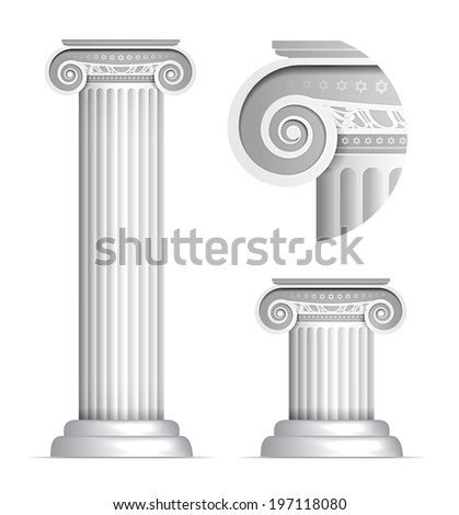 Vector illustration of classical Greek or Roman Ionic column on white background - stock vector