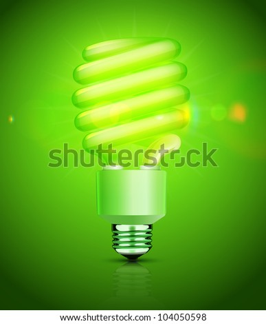 Vector illustration of classy energy saving compact fluorescent lightbulb on a green background - stock vector