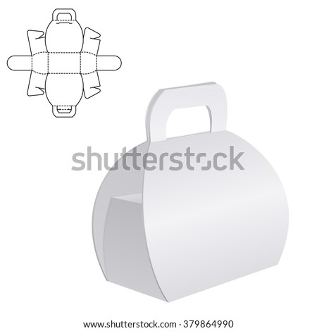 Vector Illustration of Clear Folding Carton Box with diecut for Design, Website, Background, Banner. White Handle Package Template isolated on white. Retail pack with dieline for your brand on it - stock vector