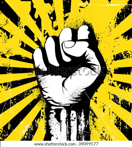 Vector illustration of clenched fist held high in protest on the yellow grunge urban background - stock vector