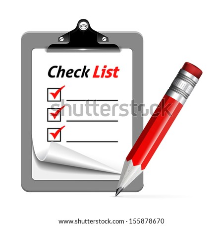 Vector illustration of clipboard with pencli on white background