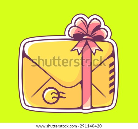 Vector illustration of closed yellow envelope with red bow on green background. Hand draw line art design for web, site, advertising, banner, poster, board and print.   - stock vector