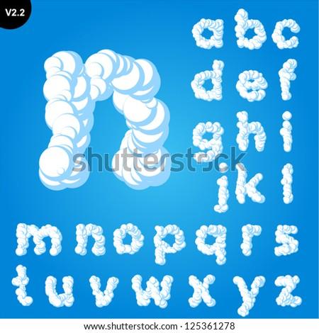 Vector illustration of cloud alphabet on a blue sky background. Bold font Smallcase - stock vector