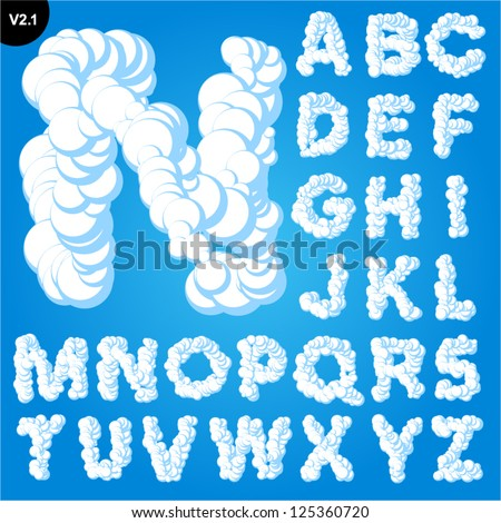 Vector illustration of cloud alphabet on a blue sky background. Bold font Uppercase - stock vector