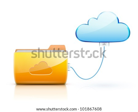 Vector illustration of cloud computing concept with blue internet cloud icon and cool yellow folder - stock vector