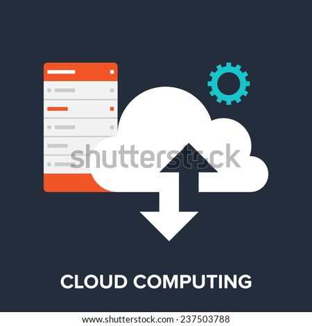 Vector illustration of cloud computing flat design concept. - stock vector