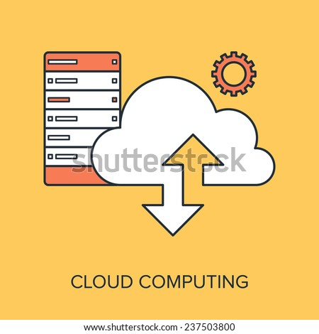 Vector illustration of cloud computing flat line design concept. - stock vector