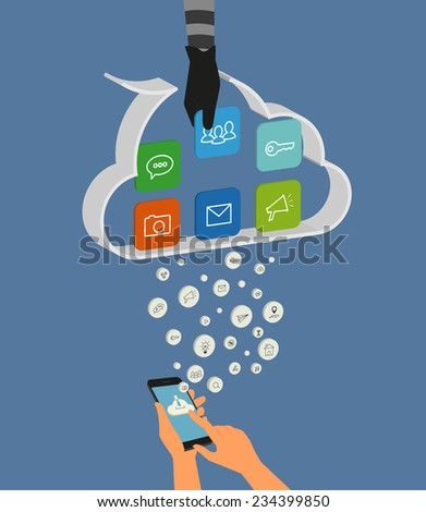Vector illustration of cloud hacking during synchronization process between smartphone and cloud data storage. Thief hand picks up the data of social networking account - stock vector