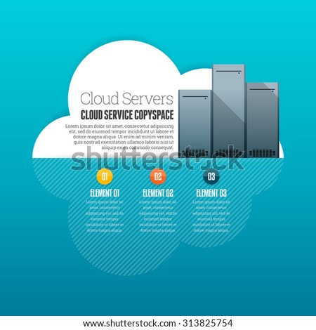 Vector illustration of cloud service copyspace infographic design element. - stock vector