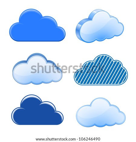 Vector illustration of clouds collection - stock vector