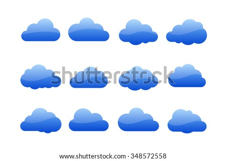 Vector illustration of clouds collection. Cloud icons for web or desktop application - stock vector