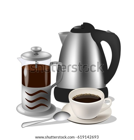 Vector illustration of coffe set. Kettle, french press and cup with spoon
