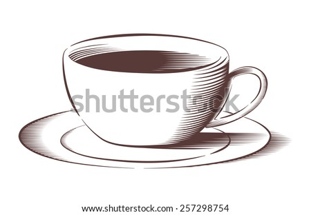 Vector illustration of coffee cup and saucer in engraved style  - stock vector
