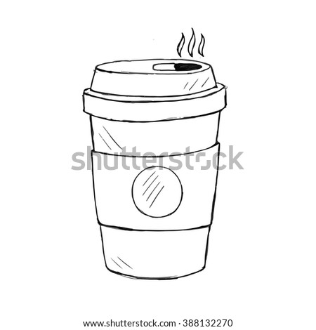 vector illustration of coffee cup. Doodle icon - stock vector