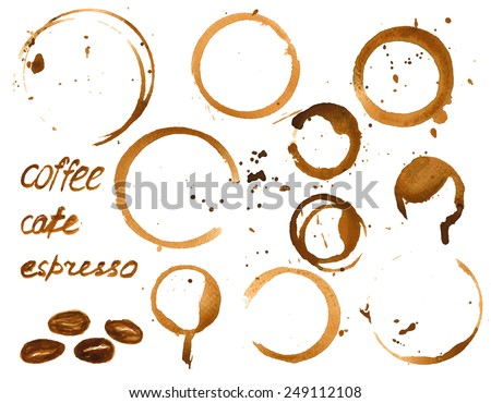 Vector illustration of coffee cup stains. Watercolor painted vector grunge set - stock vector