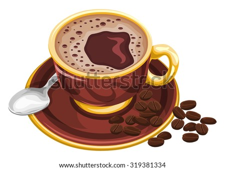 Vector illustration of coffee cup with beans. - stock vector