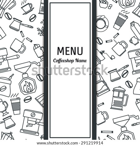 Vector Illustration of Coffee Outline concept for Design, Website, Background, Banner. Coffe beans Element Template for you Restaurant Menu or Infographic. Hot cup. - stock vector